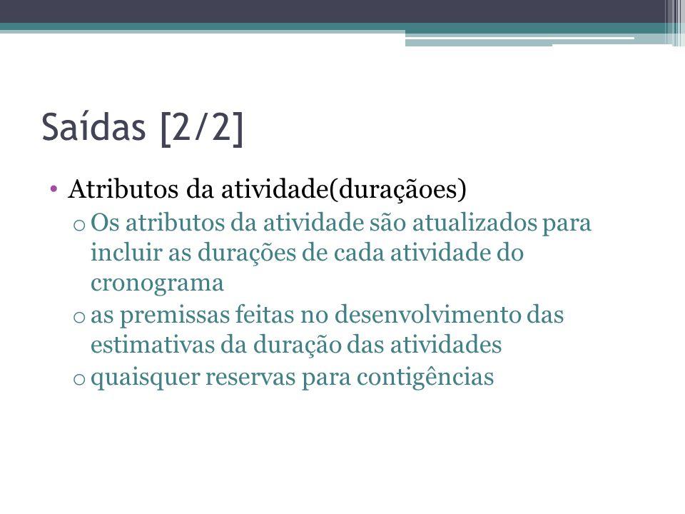 Saídas [2/2] Atributos da atividade(duraçãoes)
